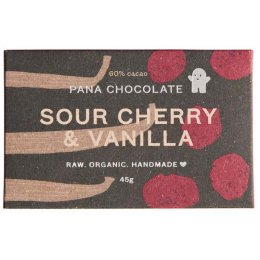 Pana Chocolate Raw Organic Sour Cherry & Vanilla Chocolate Bar - 45g