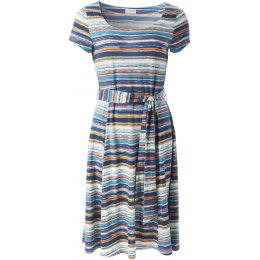 Nomads Organic Cotton Stripe Flare Dress - Mango