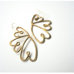 LA Jewellery Three Hearts Entwined Recycled Brass Earrings