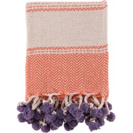 Ian Snow Cotton Tassel and Pom Pom Throw - Orange