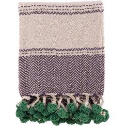 Ian Snow Cotton Tassel and Pom Pom Throw - Purple
