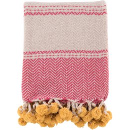 Ian Snow Cotton Tassel and Pom Pom Throw - Pink