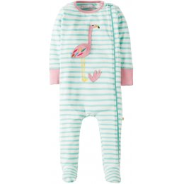 Frugi Zipped Flamingo Babygrow