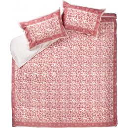 Pink Floral Border Duvet Cover Set - King Size