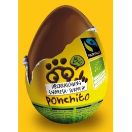 Ponchito Organic & Fairtrade Milk Chocolate Surprise Egg - 20g