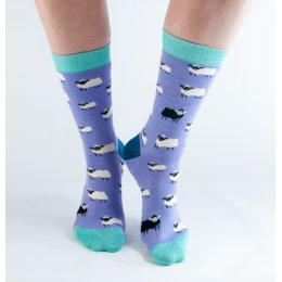 Doris & Dude Womens Lilac Sheep Bamboo Socks