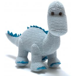 Cotton Knitted Diplodocus Rattle - Pastel Blue