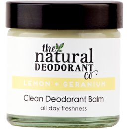 Natural Deodorant Co Clean Deodorant Balm - Lemon & Geranium - 60ml