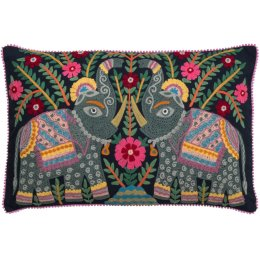 Embroidered Elephant Cushion Cover - Dark Navy