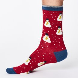 Thought Mens Snowman Bamboo Socks - Red