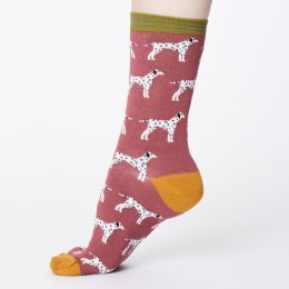 Thought Womens Bamboo Dalmatian Socks - Rose Pink