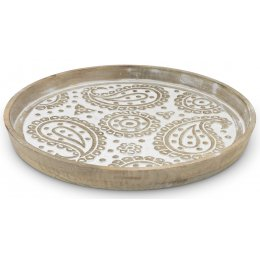 Round Carved Paisley Tray