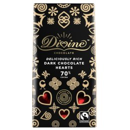Divine 70 percent  Dark Chocolate Hearts - 80g