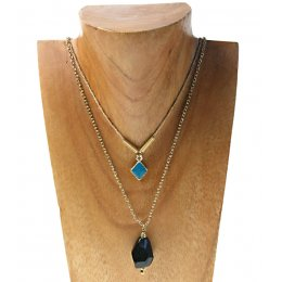 Gold Coloured Multirow Gem Necklace