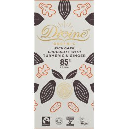Divine Organic 85 percent  Dark Chocolate with Turmeric & Ginger - 80g