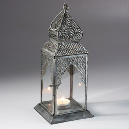 Square Table Top Antique Finish Lantern - Silver