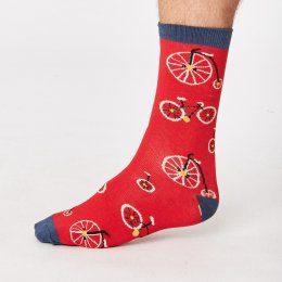 Thought Mens Cycle Bamboo Socks - Crimson