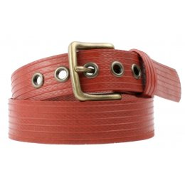Elvis & Kresse Reclaimed Firehose  West End Belt - Red