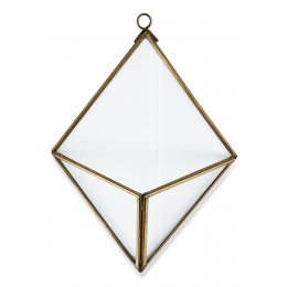 Karana Diamond Wall Hung Planter - Antique Brass