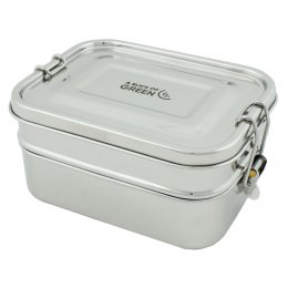 A Slice of Green Buruni Leak Resistant Stainless Steel Two Tier Lunch Box
