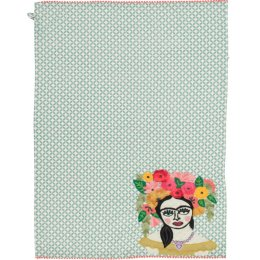 Green Frida Kahlo Embroidered Tea Towel