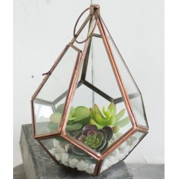 Copper Finish Geometric Teardrop Planter