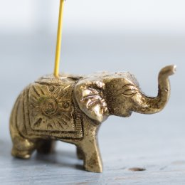 Antiqued Brass Elephant Incense Stick Holder
