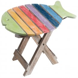 Handpainted Fish Shaped Wooden Stool