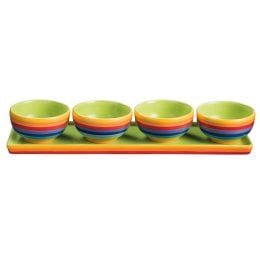 Hand Painted Rainbow Ceramic Tapas Bowls - Set of 4
