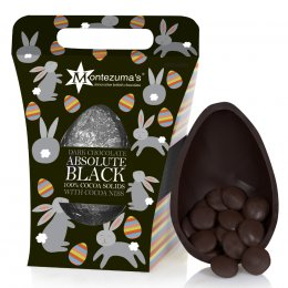 Montezumas Absolute Black 100 percent  Cocoa Chocolate Easter Egg with Buttons - 250g