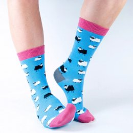 Doris & Dude Womens Blue Sheep Bamboo Socks