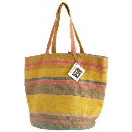 Fair Trade Jute Large Striped Beach Bag - Ochre