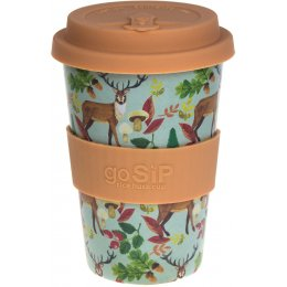 Rice Husk Reusable Coffee Cup - Stags, Acorns & Leaves - 400ml
