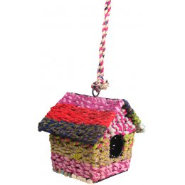 Recycled Fabric Square Bird House