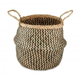 Black & Natural Ekuri Seagrass Basket - Small