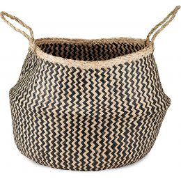Black & Natural Ekuri Seagrass Basket - Large