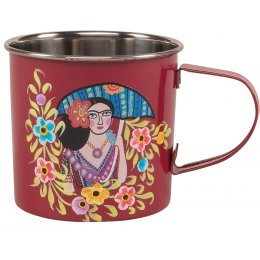 Red Frida Kahlo Stainless Steel Mug