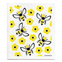 Jangneus Design Yellow Bees Patterned Dish Cloths - Set of 4