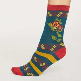 Thought Womens Deep Teal Folk Floral Bamboo Socks