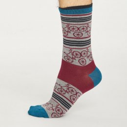 Thought Mens Grey Marle Bicycle Bamboo Socks