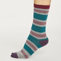 Thought Mens Grey Marle Jesper Stripe Bamboo Socks