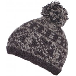 Mens New England Bobble Hat - Charcoal