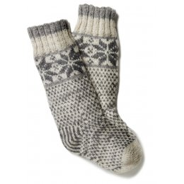 Womens Snowflake Long Socks - Grey
