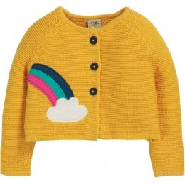 Frugi Little Annie Rainbow Applique Cardigan