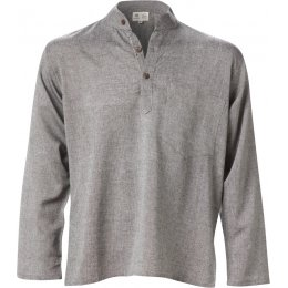 Cotton Khaddar Long Sleeve Shirt - Grey