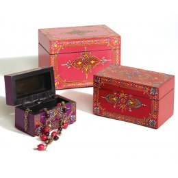 Handpainted Wooden Boxes - Set of 3