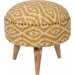 Mandir Upholstered Indian Footstool - Olive