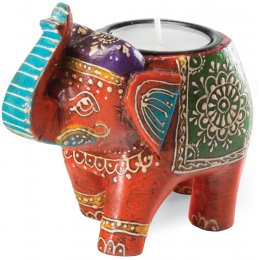 Handpainted Indian Elephant Tealight Holder