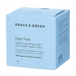 Grace & Green Organic Cotton Pads with Wings - Night - Pack of 10