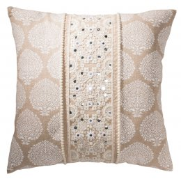 Cotton Chambray Cushion Cover with Embroidery - 45 x 45cm